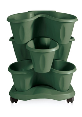 Trifoglio Green outdoor saucer on Wheels set of 3 stackable pots