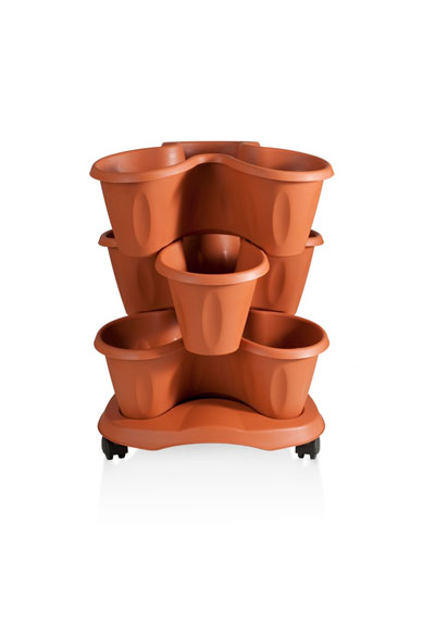 Trifoglio Terracotta outdoor saucer on Wheels 3 stackable pots
