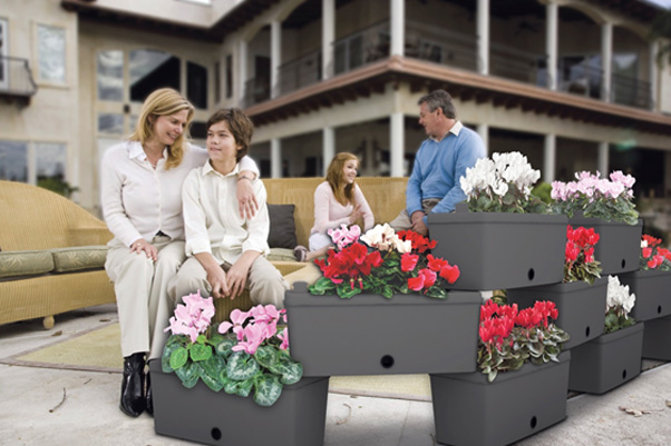 Brick Night Blue outdoor set of 5 modular planters