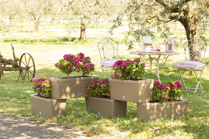 Brick Taupe outdoor set of 5 modular planters