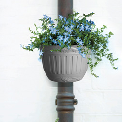 Style Grey Pot for hanging on a drainpipe or securing to a wall