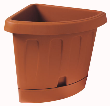 Victoria outdoor corner pot with self-watering saucer